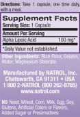 Alpha Lipoic Acid 100 mg. / 100 Caps.
