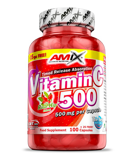 AMIX Vitamin C /with Rose Hips/ 500mg. / 125 Caps.