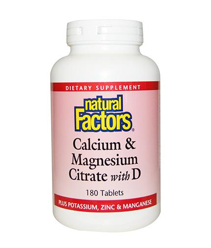 NATURAL FACTORS Calcium & Magnesium Citrate with D 90 Tabs.