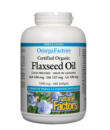 NATURAL FACTORS Flaxseed Oil 1000mg. / 360 Softgels.