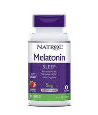 NATROL Melatonin 5mg Fast Dissolve  /Strawberry/ 90 Tabs