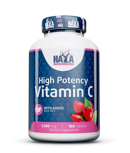 HAYA LABS High Potency Vitamin C 1,000mg with Rose Hips 100 tabs.