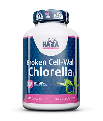 HAYA LABS Broken Cell Wall Chlorella 500mg. / 100 Caps.