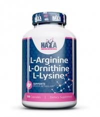HAYA LABS L-Arginine / L-Ornithine / L-Lysine / 100 Caps.