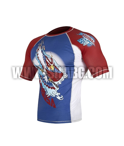 HAYABUSA FIGHTWEAR Ninja Falcon Rashguard Short Sleeve Blu/ Red