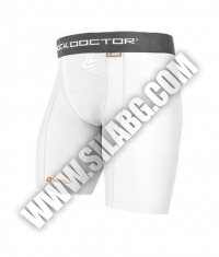 SHOCK DOCTOR Compression Short With Cup Pocket / Adult / White