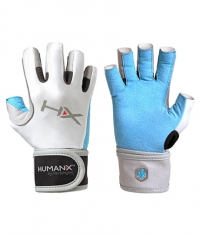 HARBINGER HUMANX Women's X3 Competition Open Finger WristWrap Gloves BLUE / GREY