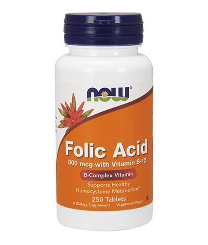 NOW Folic Acid /800mcg./ + B-12 /25mcg./ 250 VegTabs.