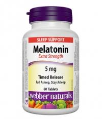 WEBBER NATURALS Melatonin Extra Strength 5mg Timed Release / 60Tabs.