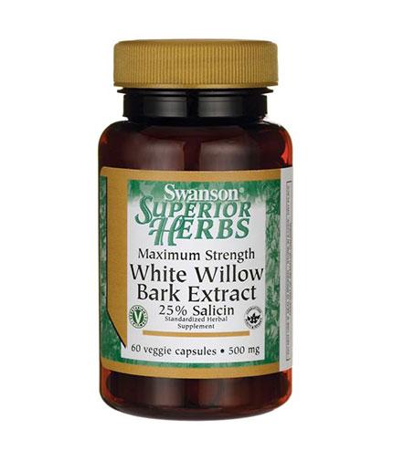 SWANSON Maximum Strength White Willow Bark 500mg. / 60 Vcaps