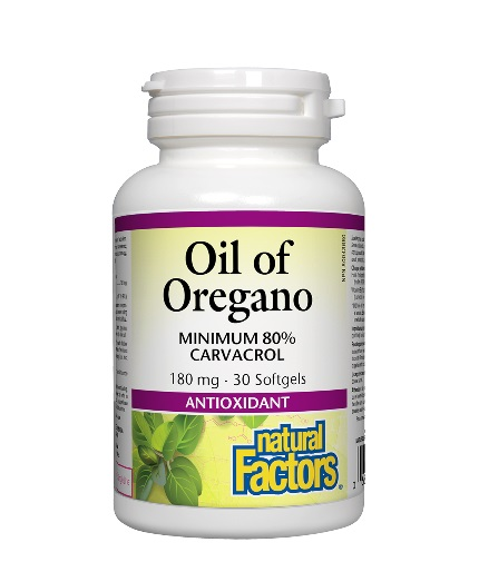 NATURAL FACTORS Oil of Oregano 180mg. / 30 Softgels