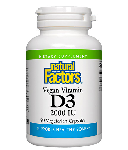 NATURAL FACTORS Vegan Vitamin D3 2000 IU / 90 Vcaps