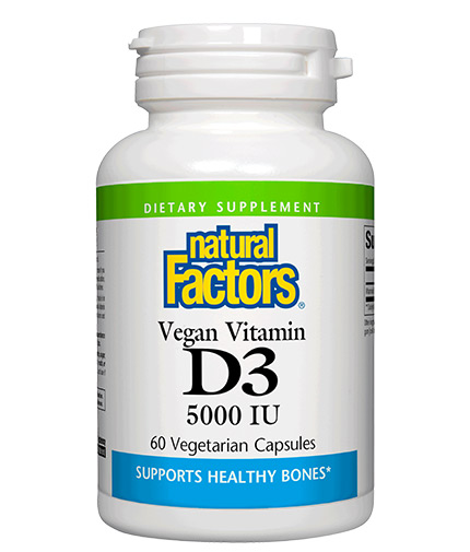 NATURAL FACTORS Vegan Vitamin D3 5000 IU / 60 Vcaps