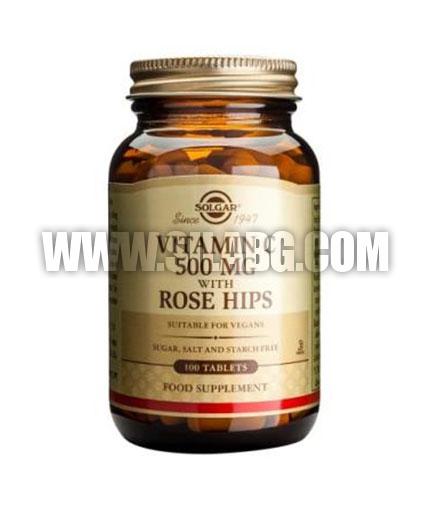 SOLGAR Vitamin C + Rose Hips 500 mg. / 100 Tabs.